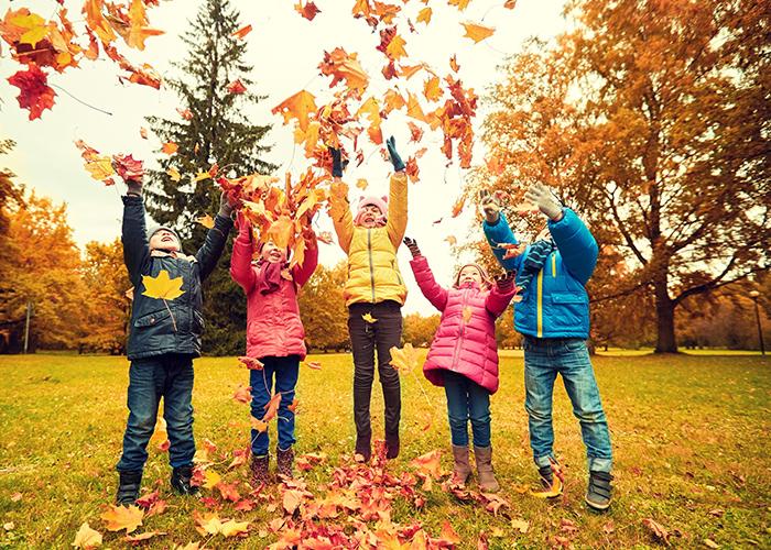 enfants jeux feuilles mortes